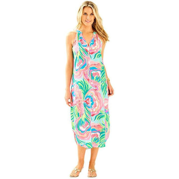 Lilly Pulitzer Bailey Silk Midi Dress Serene Blue Paradise Bound