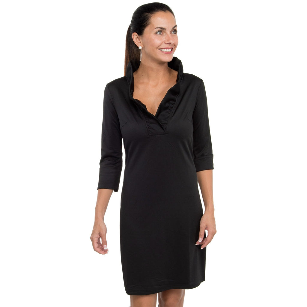 Gretchen Scott Ruffneck Jersey Dress Solid Black/Pink