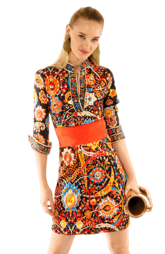 Gretchen Scott Jersey Mandarin Dress - Magic Carpet Black Multi