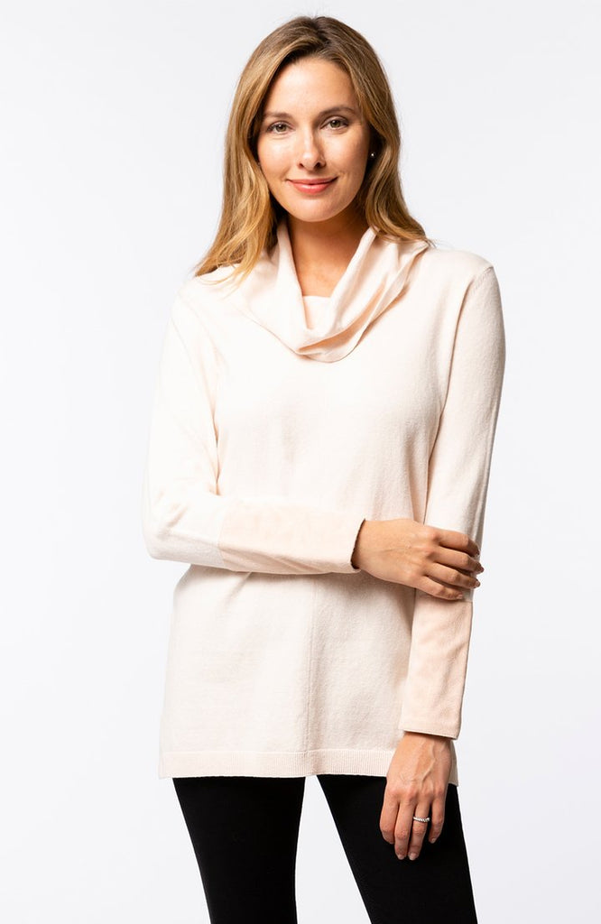 Tyler Boe Cotton/Cashmere Drape Neck Tunic Blush