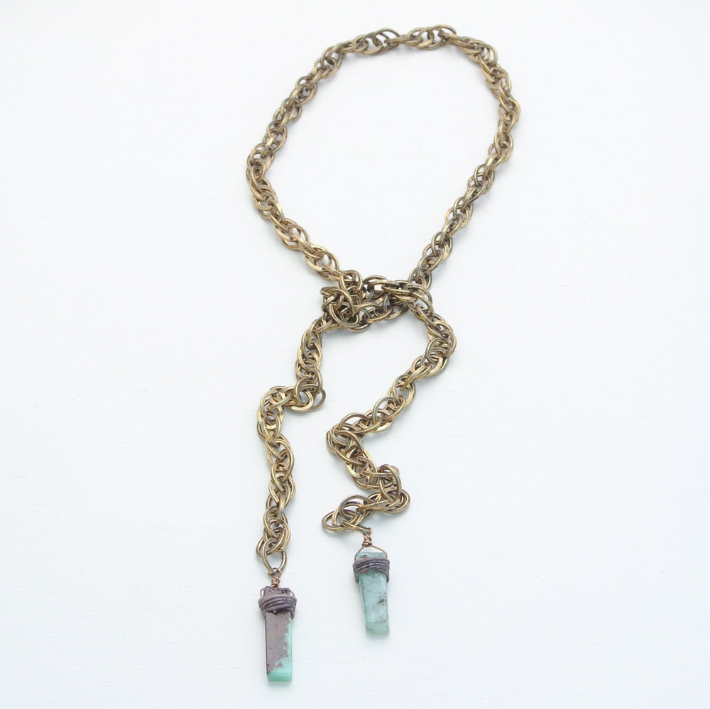 Canoe Peruvian Opal and Antique Gold Rope Chain