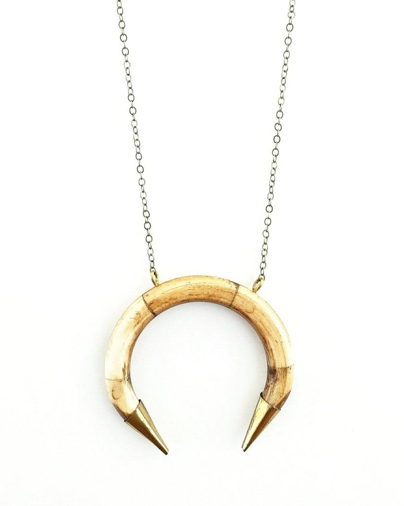 BELJOY Storm Necklace Brown/Gold Tips