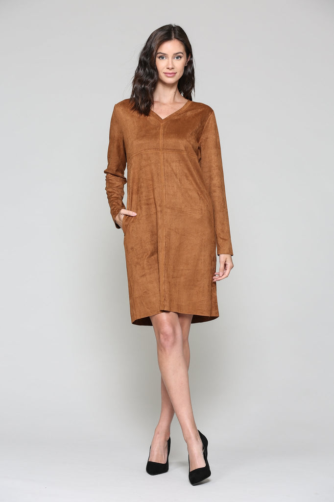 JOH Aurora V-Neck Dress No Pockets Caramel