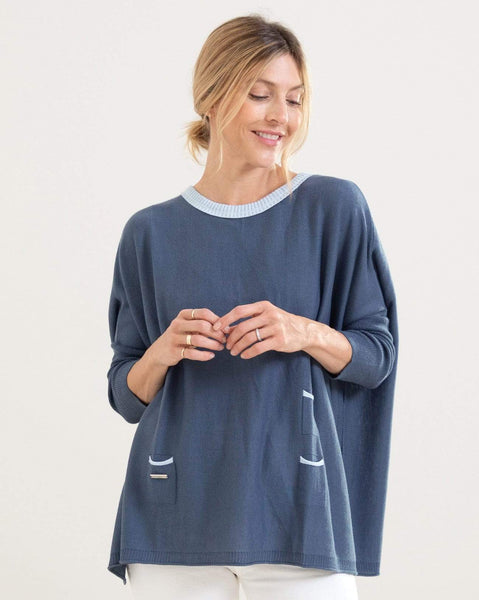 Mersea The Catalina Travel Ringer Sweater Blue/Sky