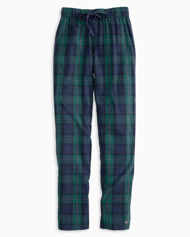 Southern Tide Coastal Watch Plaid Lounge Pant Blue Night