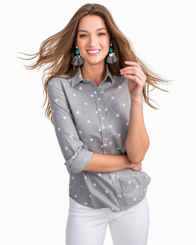 Southern Tide Dynamic Grey Emery Button Front Dot Shirt