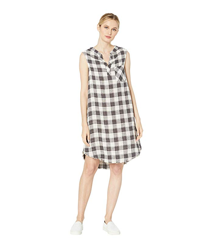 Dylan Big Checks Sleeveless Dress with Fray Hem Tan