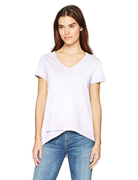 Dylan Soft Slub Asymetrical S/S V-Neck White