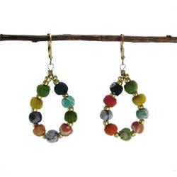 World Finds Kantha Beaded Teardrop Earrings