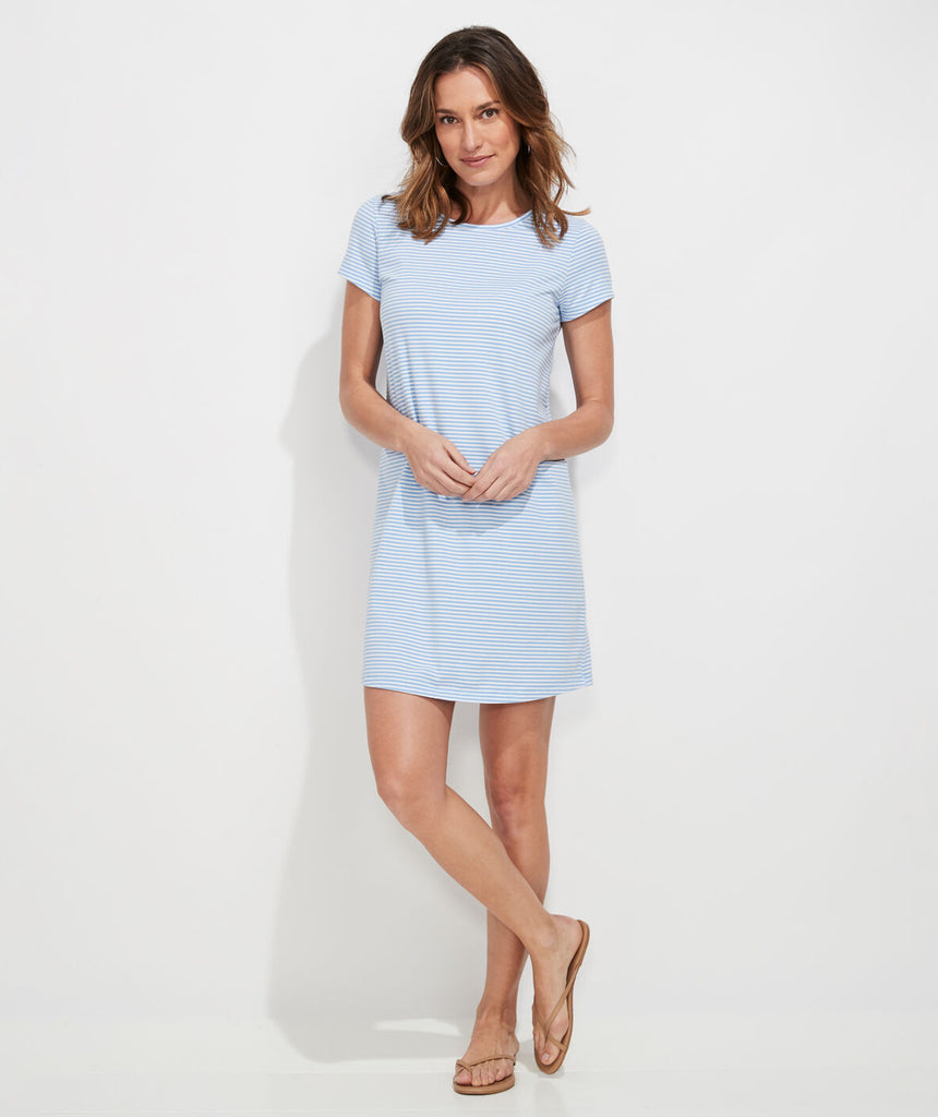Vineyard Vines Edgartown Madaket Striped T-Shirt Dress Hydrangea