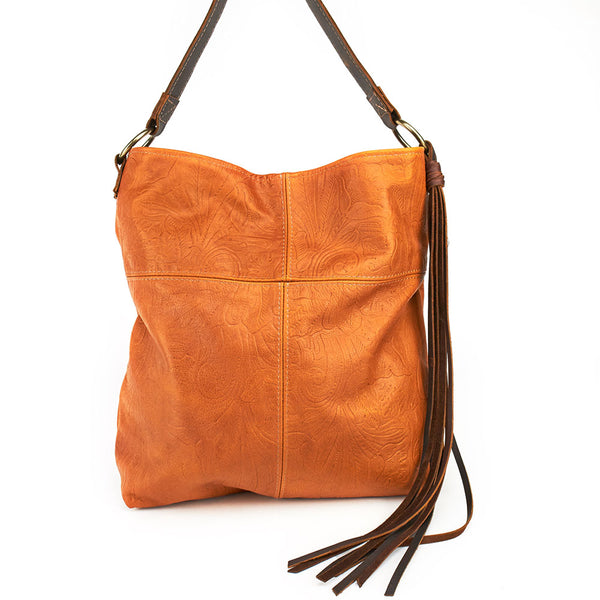 Canoe Slouch One Shoulder: Embossed Leather Rust