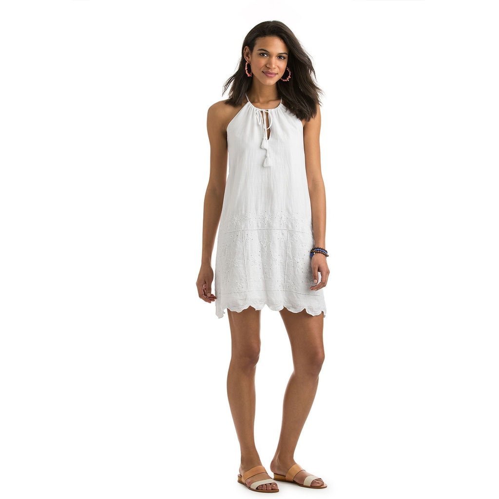 Vineyard Vines Eyelet Halter Dress White Cap