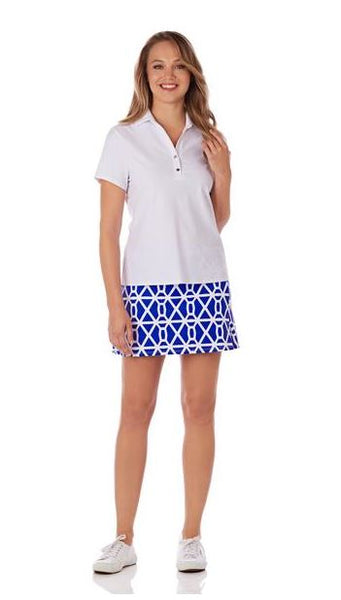 Jude Connally Morgan Skort in Chain Geo Cobalt