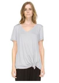 JOH Kendall V-Neck Short Sleeve Top Heather Grey