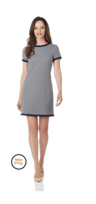 Jude Connally Parker Dress  Ponte Knit Houndstooth Navy