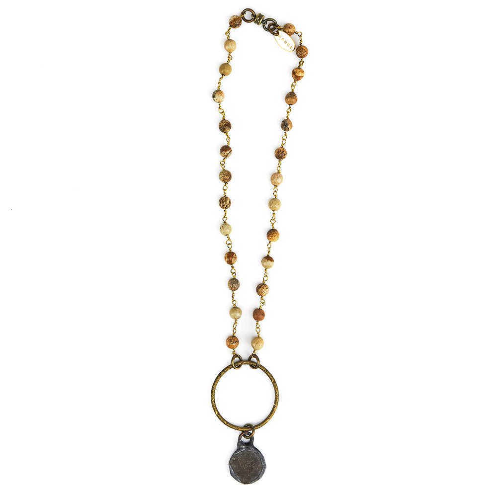 Canoe Jasper Chain With Circle & Soldered Coin