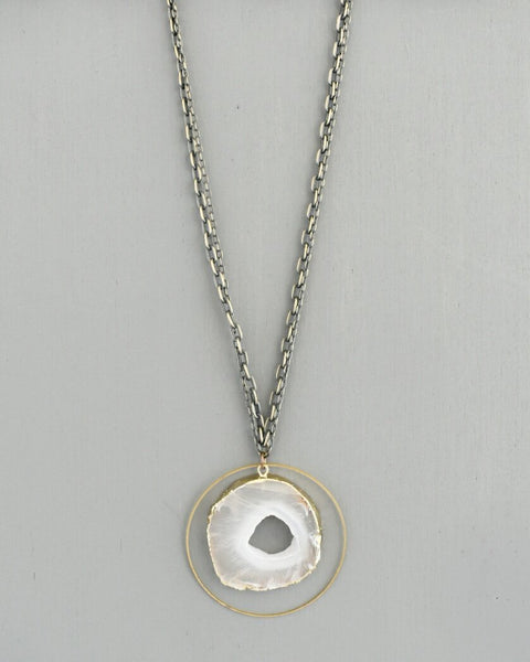 Beljoy Jenna Necklace Grey Agate