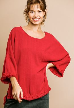 Umgee Long Bell Sleeve Top With Frayed Hem Jester Red
