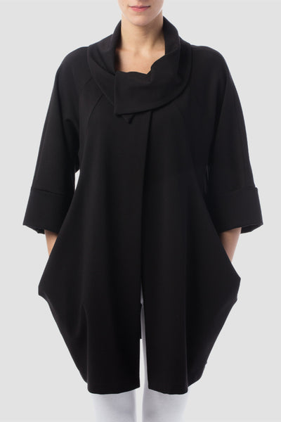 Joseph Ribkoff Cowl-Neck Coat Black