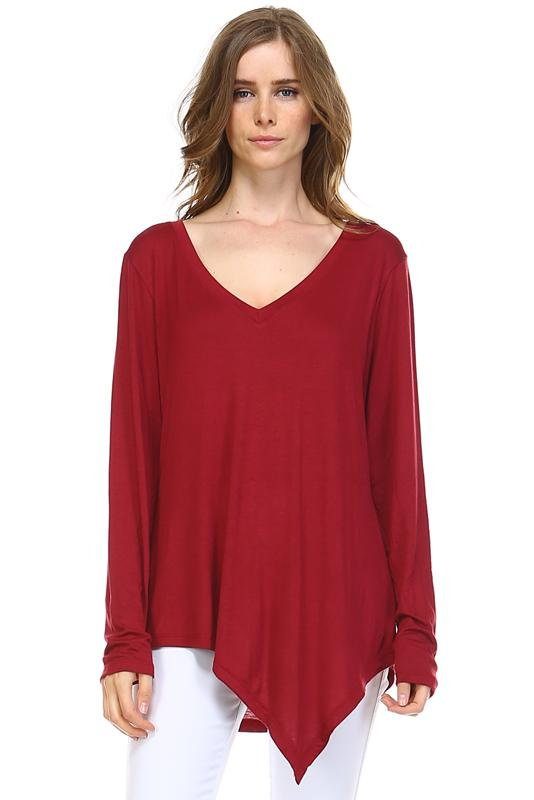 JOH Kelly L/S V-Neck Top Wine