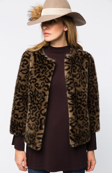 Tyler Boe Faux Fur KiKi  Coat Brown Black Multi