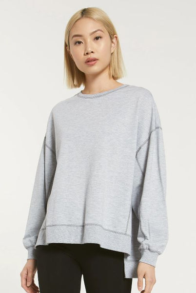 Dylan Frosty Tipped Modern Mock Neck Sherpa Pullover Putty