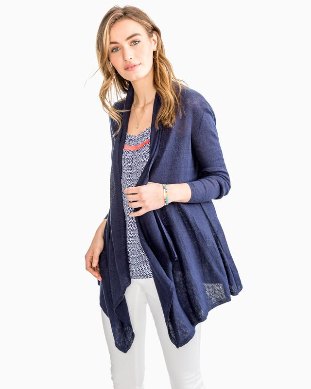 Southern Tide Presley Linen Cardigan Nautical Navy