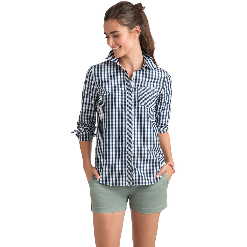 Vineyard Vines Relaxed Seabreeze Gingham Pocket Button-Up Deep Bay