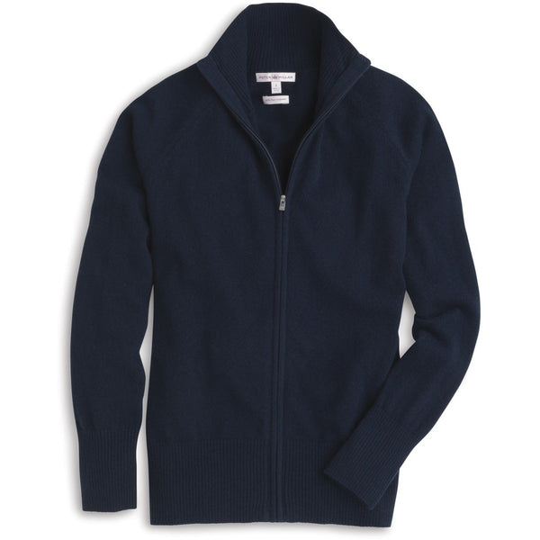 Peter Millar Cashmere Full-Zip Sweater Navy