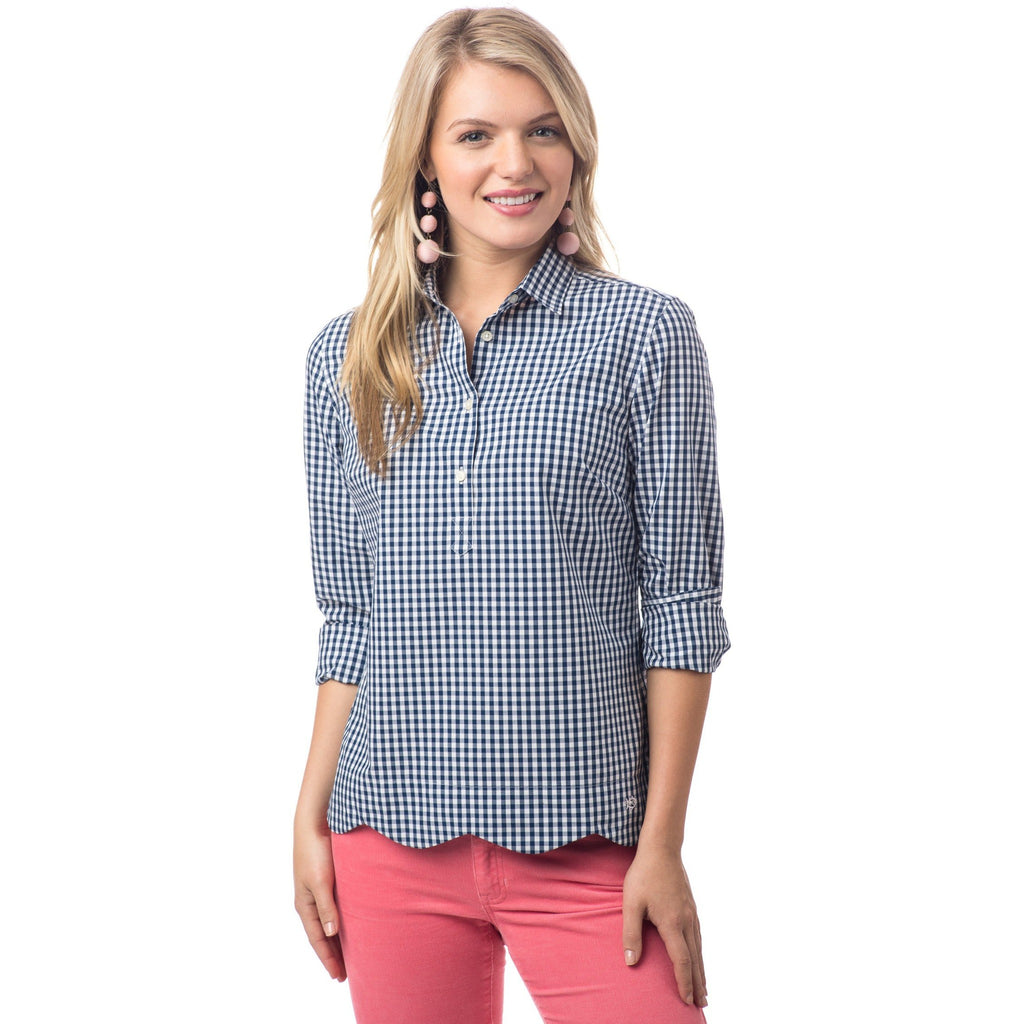 Southern Tide Nautical Navy Gingham Button Up