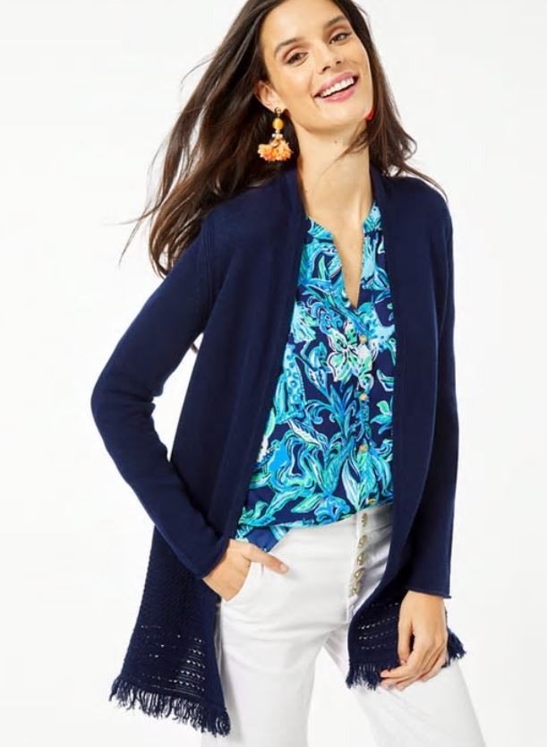 Lilly Pulitzer Noble Cardigan True Navy