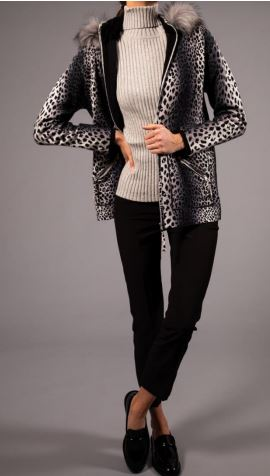 OST Cheetah Printed Parka with Removable Faux Trim Hood Smoke