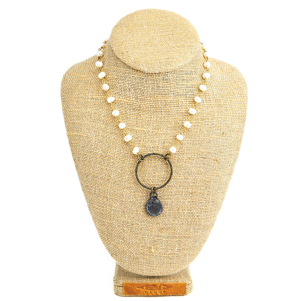 Canoe Pearl Chain With Circle & Soldered Coin