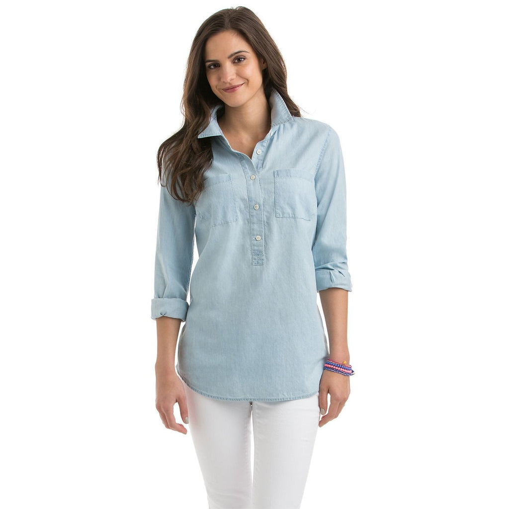 Vineyard Vines Chambray Popover Indigo