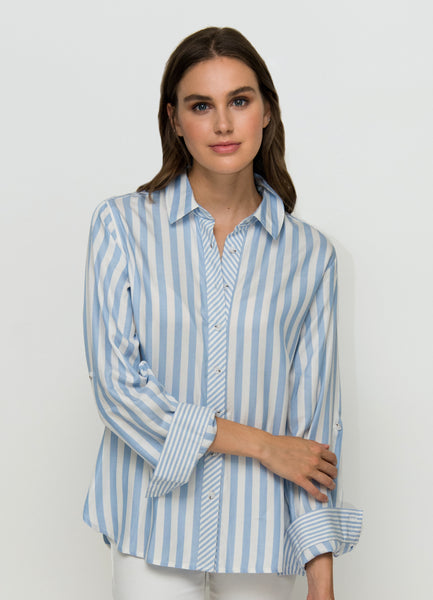 OST Bella Striped Button Down Periwinkle