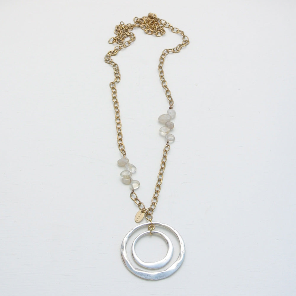 Canoe Hammered Circles on Chain w/Rutile Quartz