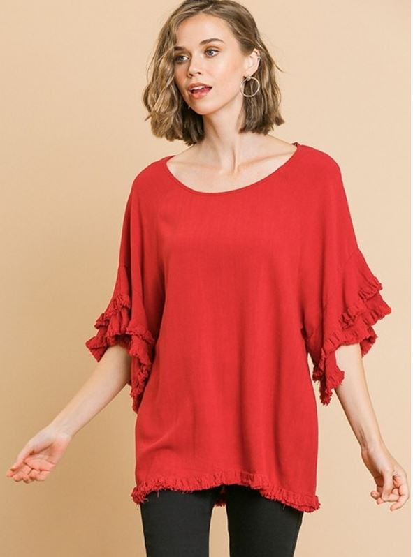 Umgee Ruffled Short Sleeve Top with Frayed Hem Jester Red