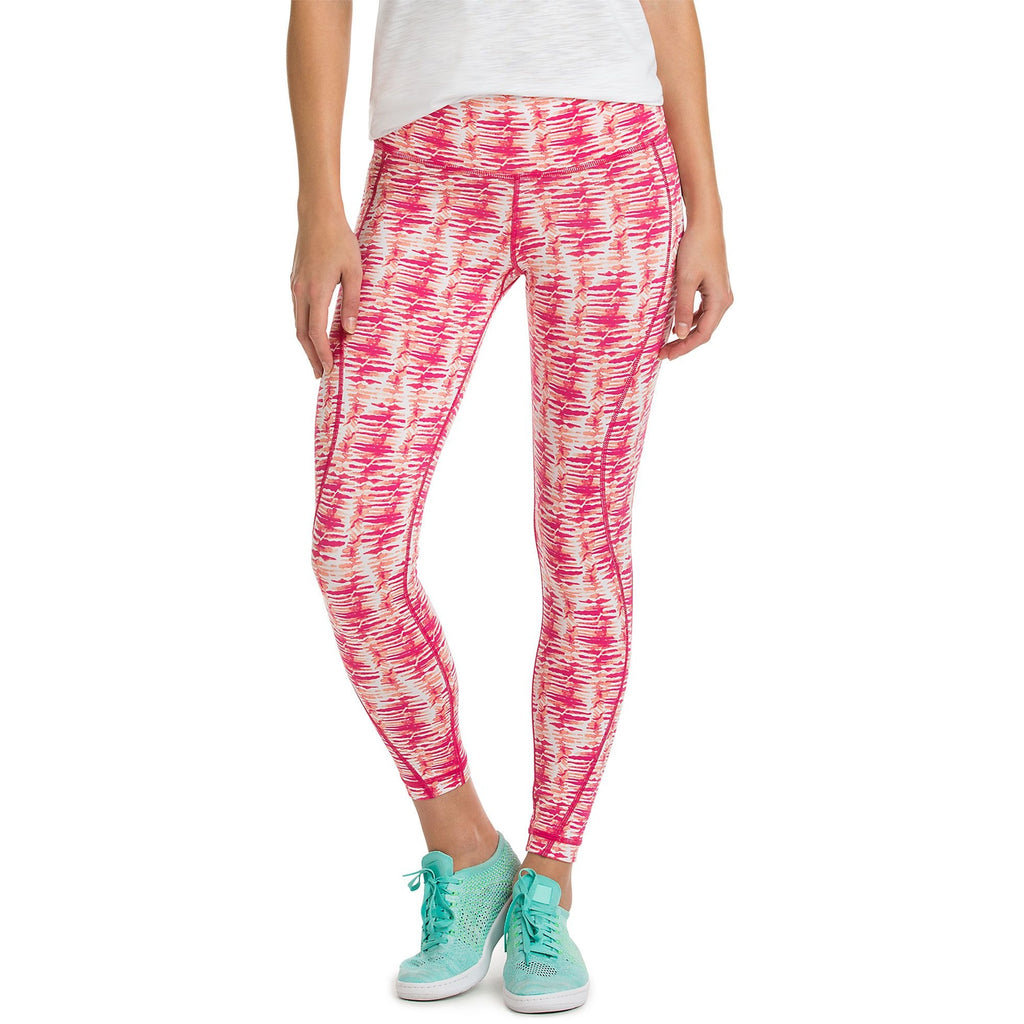 Vineyard Vines Watercolor Lines Printed Performance Legging Rhododendron