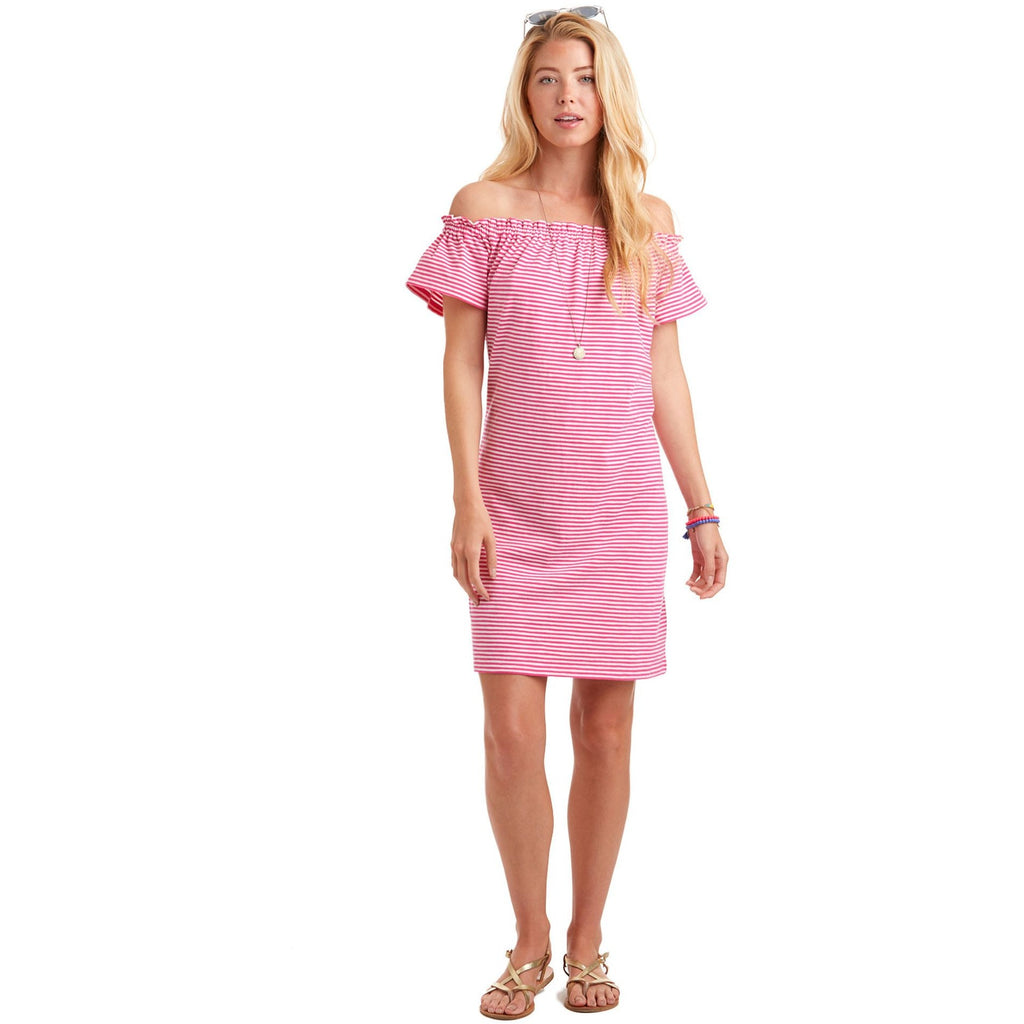 Vineyard Vines Stripe Off The Shoulder Dress Rhododendron