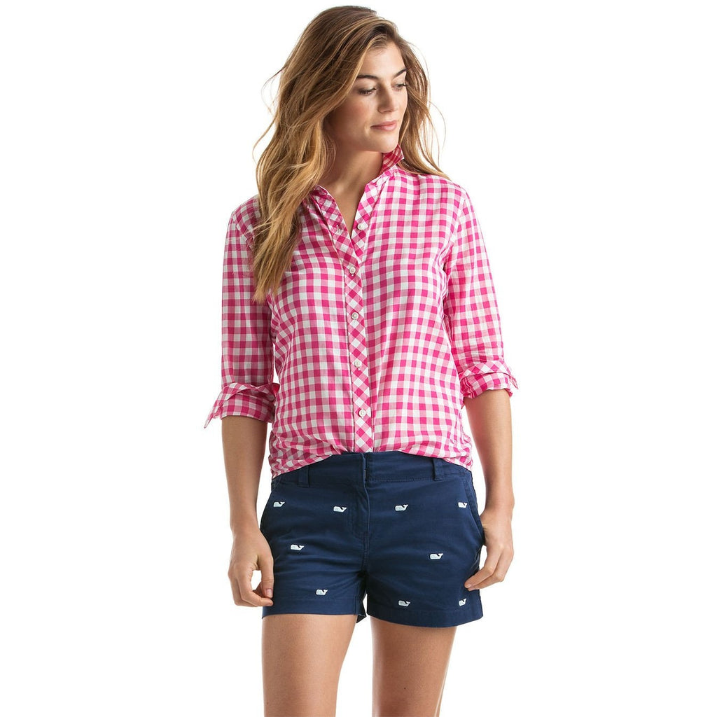 Vineyard Vines Blyden Gingham Relaxed Buttondown Rhododendron