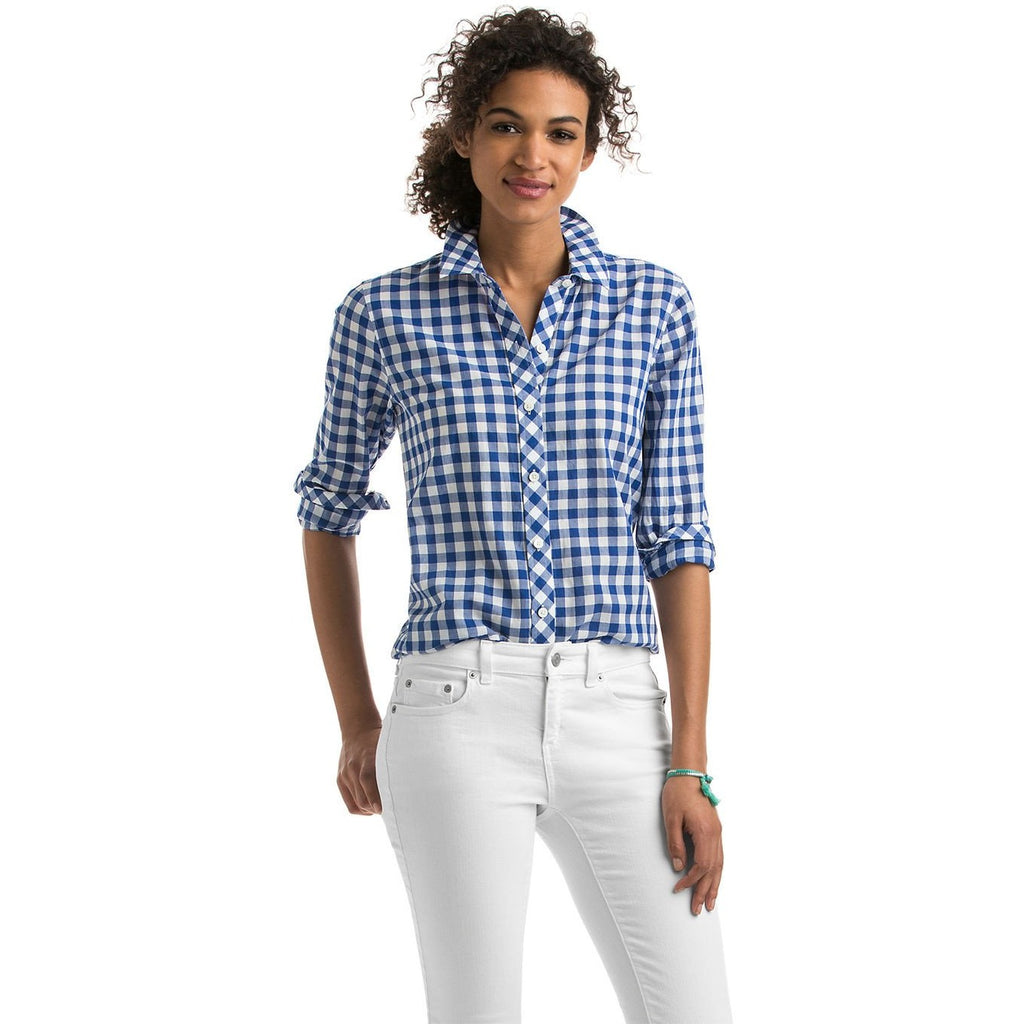 Vineyard Vines Blyden Gingham Relaxed Buttondown Royal Ocean