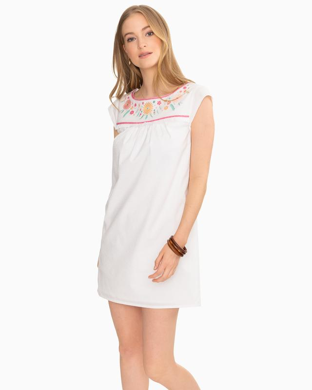 Southern Tide Sadie White Seersucker Dress Classic White