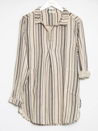 Dylan Mixed Stripe L/S Tunic Dress Sand