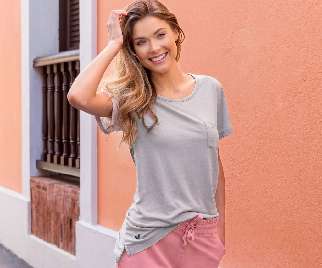 Southern Marsh Tori SEAWASH™ Pocket Tee Light Grey