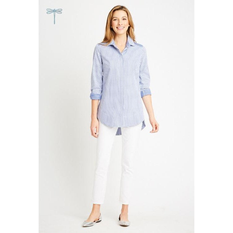 Tyler Boe Reverse Check Sherri Button Down Shirt New Cobalt