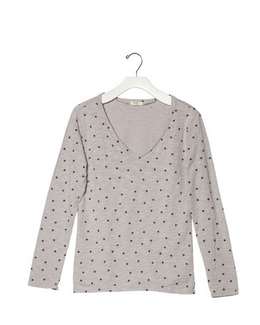 Dylan Soft Slub With Stars Long Sleeve V-Neck Tee Silver Grey