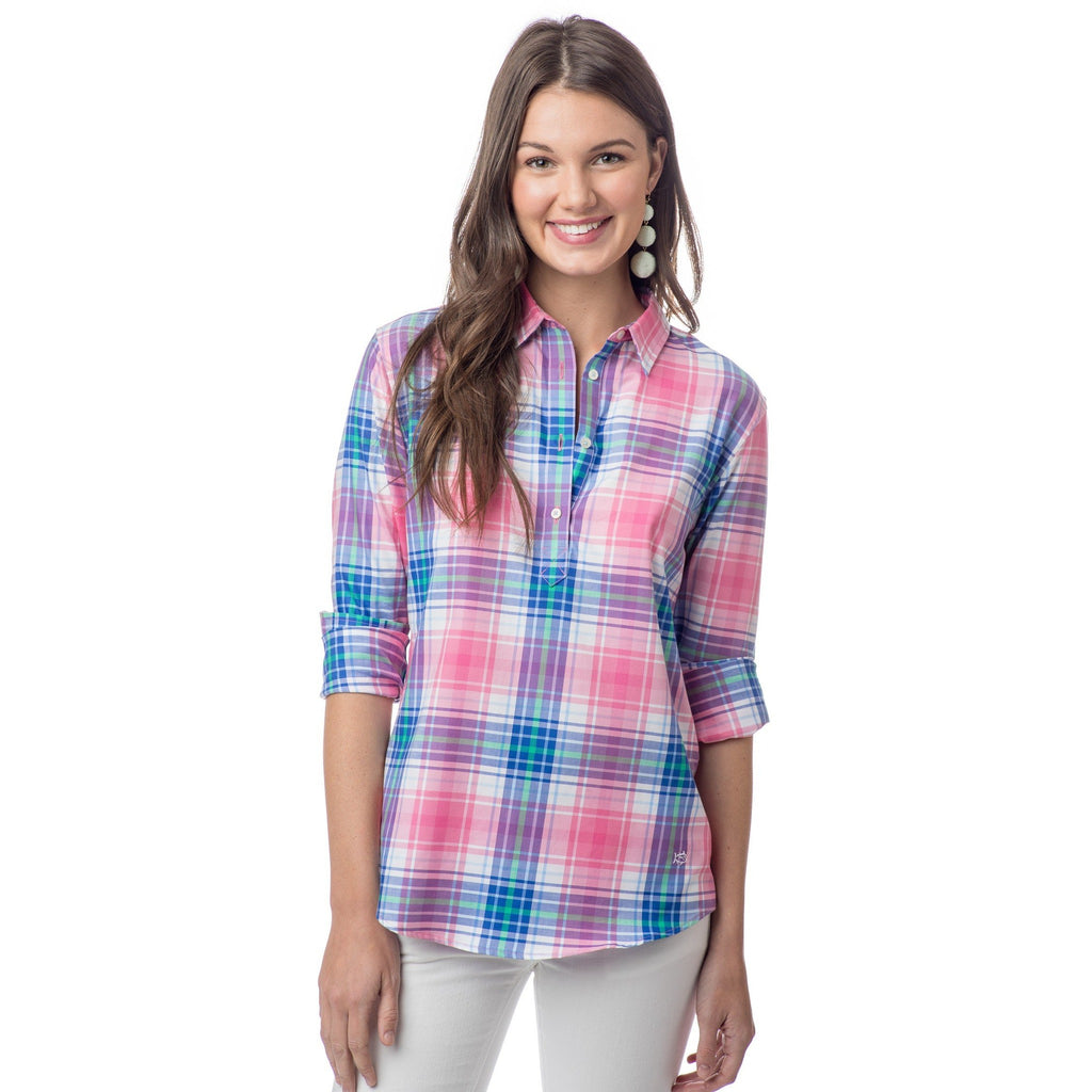 Southern Tide Smoothie Pink Plaid Hadley Popover