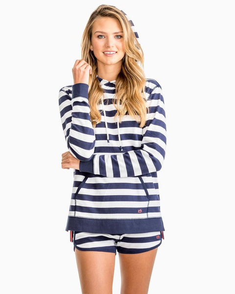 Southern Tide Soleil Striped Hoodie Navy/White