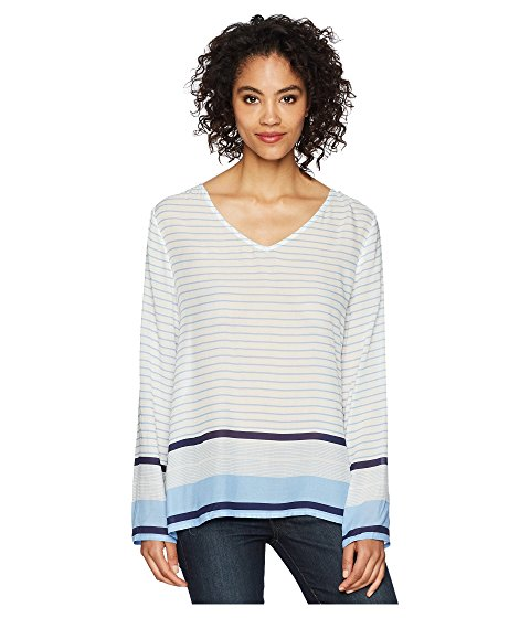 Dylan Surf Stripe Surf Stripe Long Sleeve Soft Rayon Blouse