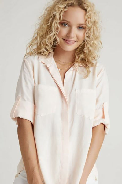 Bella Dahl Split Tail Button Down Sunkissed Coral